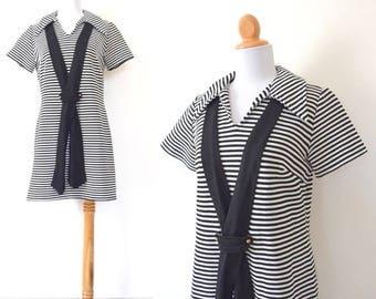 SUMMER SALE/ 30% off Vintage 60s 70s The Brig Black and White Striped Sailor Dress (size medium, large)
