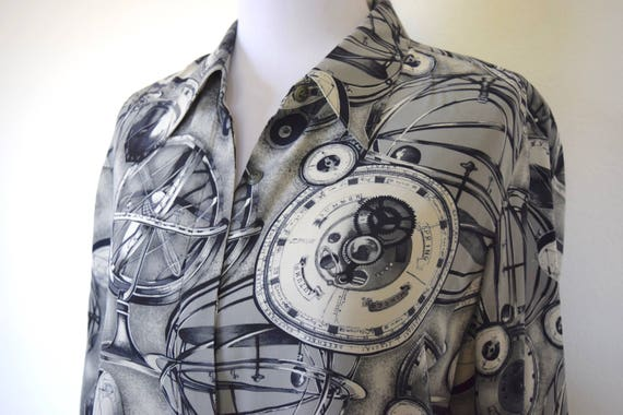 Vintage 80s 90s Planetary Motion Greyscale Novelty Print Pure Silk Blouse