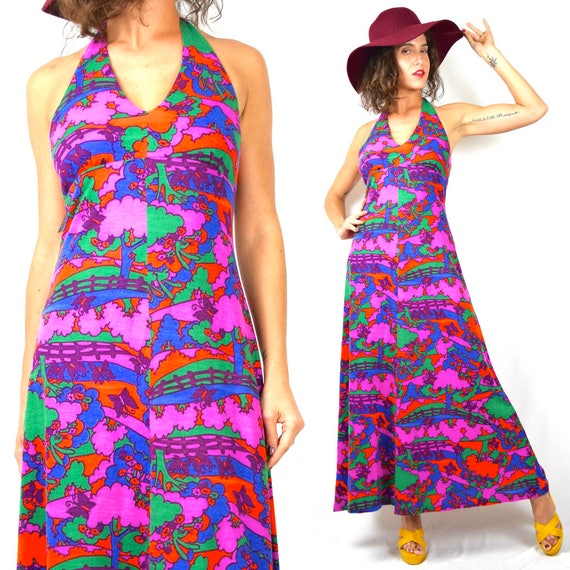 Vintage 60s Peter Max Style Winding Country Road Psychedelic Print Halter Back A Line Maxi Dress (size small, medium)