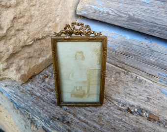 Vintage Antique Victorian 1890/1900  French miniature brass Photo Frame with bow at the top