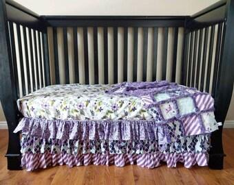 Mermaid Crib Set for Baby Girl - Mermaid Crib Bedding - Mermaid Nursery Bedding - Purple Crib - Bumperless Bedding - Crib Sheet - Crib Skirt