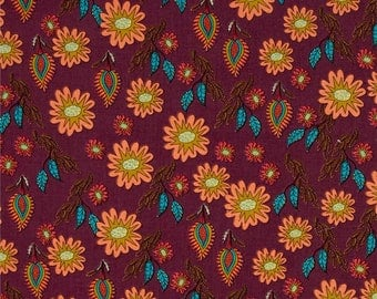 HALF YARD - Kathy Doughty, Flock Together, Field of Flowers in Contemporary, Floral, cotton quilting fabric