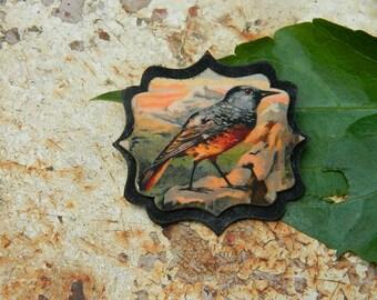 Bird brooch - Rock blackbird brooch - bird jewelry - handmade brooch -  victorian graphic - monticola saxatilis