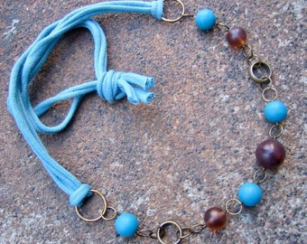 Eco-Friendly T Shirt Yarn Necklace - Sanctuary - Soft Yarn from Recycled T Shirts and Vintage Beads in Earth Brown and Sky Blue
