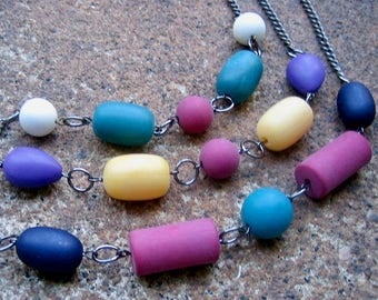 Eco-Friendly Set (3) of Layered Necklaces - Box of Crayons - Recycled Vintage Steel Curb Chain and Brightly Colored Matte Finish Beads
