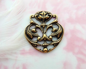 ANTIQUE BRASS * Art Nouveau Floral Scroll Motif Ornament Stamping ~ Jewelry Finding (FA-6075)