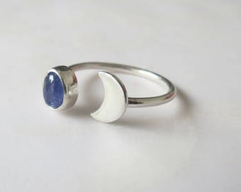 Moon Ring, Half Moon Ring, Open Stone Ring, Sterling Silver, Tanzanite Ring, Crescent Moon Ring, Handmade Ring, Simple Chic Stacking Ring
