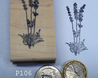 P106 Small lavender flowers rubber stamp