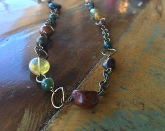 Handmade wire wrapped beautiful long necklace in fall colors!