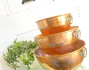 Mix It Up... Vintage Copper Nesting Mixing Bowls Set of Three Modern Farmhouse Home Decor Kitchenware Cooking Rustic
