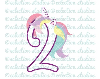 Unicorn SVG, Unicorn 2 Two, Second Birthday Unicorn number, commercial use SVG, DXF, eps, jpg, png for silhouette/cricut cutting machine
