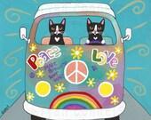 Rainbow Hippies VW Peace Bus Original Cat Folk Art Painting