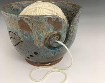 Yarn Bowl  Leaf Yarn Bowl  Knitting Bowl  Ceramic Yarn Bowl  Handmade Yarn Bowl  Blue Yarn Bowl.