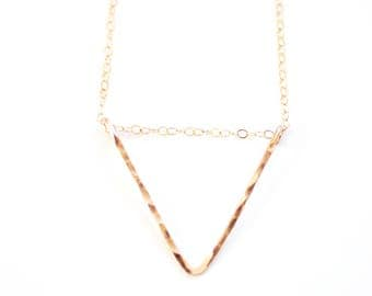 Minimalist Hammered Triangle Necklace - 14k Gold Filled | Sterling Silver