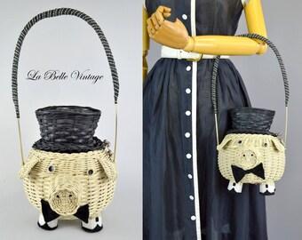 Novelty Wicker Basket Purse Vintage Pig Handbag ~ Sir Oinks Alot