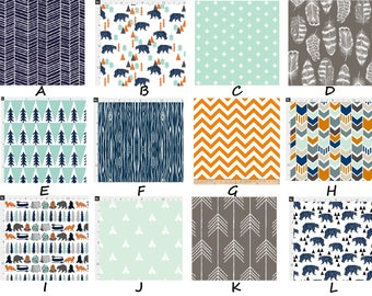Rustic Bear Woodland Tribal Navy Mint Orange & Stone Baby Nursery Crib Bedding Set made with Designer fabric CHOOSE and CUSTOMIZE