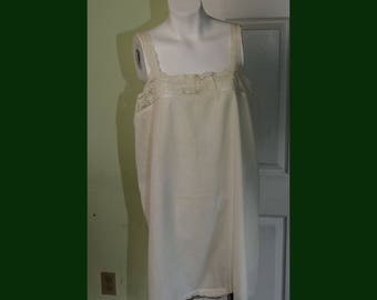Vintage 1920's White Cotton Chemise Teddy Onsie with Lace Trim