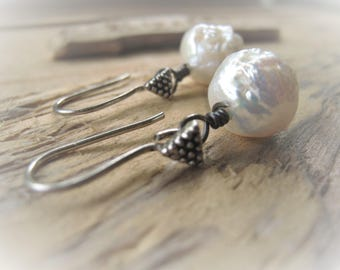 White Crinkle Pearl Earrings Baroque Pearl Earrings Sterling Earrings JE2375
