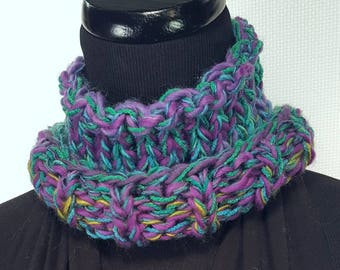 Green Purple Yellow Knit Neck Warmer Scarf