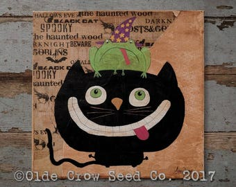 Black Cat Frog Whimsical Halloween Painting 10x10 Mixed Media Folk Art