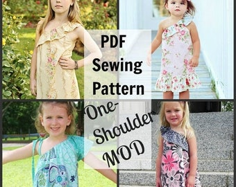 SALE One-Shoulder MOD Whimsy Couture Sewing Tutorial PDF modify any existing pattern with - Instant