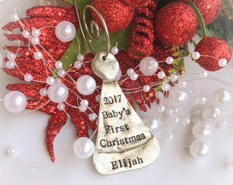 Personalized Santa Hat Ornament, Personalized Christmas Ornament, Hand Stamped Ornament, Custom Kids Name Ornament, Baby's First Christmas
