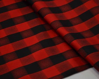 Not Your Usual Black and Red Plaid, Silk Japanese Vintage Kimono Fabric BTY