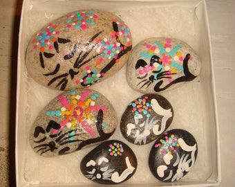 My #74 Mewo! Box of Kitties- Hand Painted Stones Sleeping Cat Stone .. Makes a cute gift for cat lovers! grandchildren!