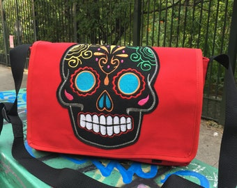 Red Canvas Sugar Skull Messenger Bag, Canvas Courier Bag, Cross Body School Bag, Book Bag