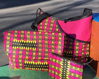 Pink Yellow and Black African Wax Cloth Travel Bag Set, Cotton Messenger Bag Tote and Accessory Cases