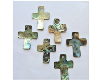 Cross made of Abalone shell, pendant suitable to create rosary, 26mmx19mm