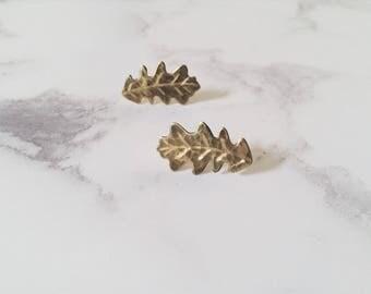 English oak leaf earrings, leaf post earrings, brass climber earrings, Leaf-Life collection, tree jewelry
