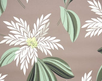 1940s Vintage Wallpaper by the Yard - Floral Wallpaper Large White Tropical Botanical on Brown