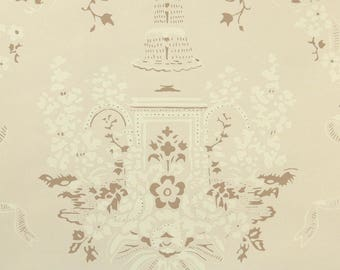 1950s Vintage Wallpaper by the Yard - Nancy McClelland - Fountain Damask of Brown Tan Cream and Ivory