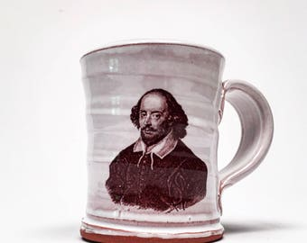 Handmade mug featuring William Shakespeare