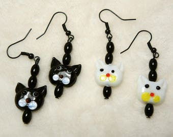 Color Choice - Glass Cat Heads and Beads Pierced Dangle Earrings