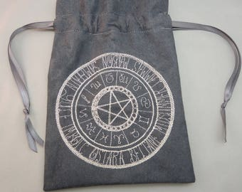 Wheel of the Year Embroidered Gray Ultrasuede Drawstring Bag