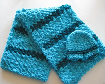 READY TO SHIP Crochet Baby Blanket St, Baby Shower Gift, Baby Travel Blanket Set, Baby Girl Blanket Set - Torquoise & Teal Baby Blanket Set