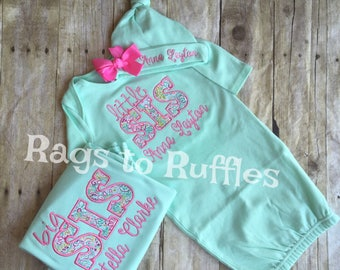 Baby Girl Personalized Coming Home Gown- Big Sister Personalized Shirt- Monogrammed Baby Girl Gown Set- Monogrammed Baby Gown