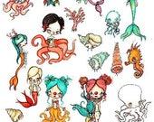 Nautical stickers --- Cute mermaid octopus seashell Art Vinyl Stickers