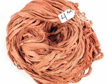 Sari silk ribbon, Silk Chiffon sari ribbon, Recycled Silk Sari Ribbon,  Rust chiffon ribbon, weaving supply, crochet supply, knitting supply