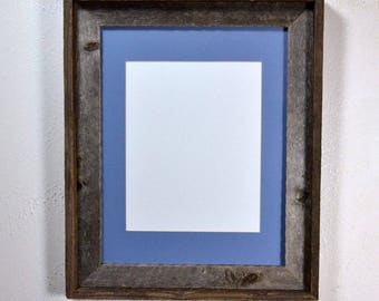 8x10 blue mat in gray reclaimed wood picture frame 11x14 without mat