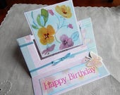 Handmade Birthday Card: ooak, swing easel card, greeting card, birthday, friend, flowers, teal, complete card, handmade, balsampondsdesign