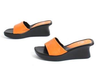 size 8 PLATFORM black and ORANGE 80s 90s CHUNKY wedge slide sandals