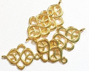Bulk 60 pcs of Gold Swirl connector 28x18mm, Gold plated connector, Gold connector links