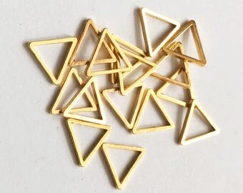 100pcs Gold plated brass triangle links 8mm, bulk triangle linking ring, gold triangle connector