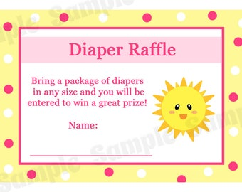 24 Baby Shower Diaper Raffle Cards - PINK You are My Sunshine - Sunshine Baby Shower