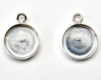 2 - 8mm ROUND BEZELS with Bail 925 Sterling Silver for Cabochon Earrings