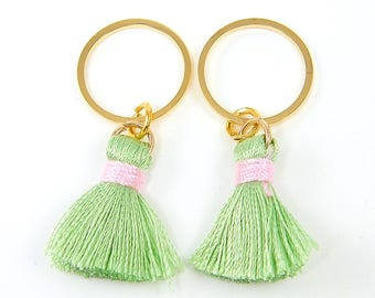 Pink and Green Tassel Earrings Findings, Gold Hoop Pink Green Fringe Earring Dangle Preppy Jewelry Supply  Components |GR|2
