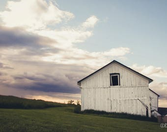 Still Standing; fine art photography, modern, wall art, barn, white barn, farmhouse, wall decor, sunset, landscape, rustic, by F2images